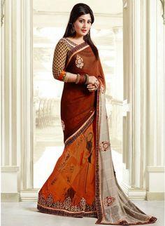 Vivacious Beige, Brown & Deep Orange Embroidered #Saree #designersarees #clothing #womenswear #womenapparel #ethnicwear