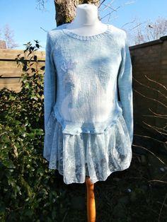 Upcycled Sweater Dress 'Swan Lake' UK size by StrangelyMagical