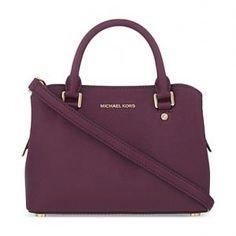 MICHAEL Michael Kors Saffiano Leather Plum Savannah Satchel - Small - Sale