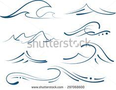 simple tattoo with waves set, minimalistic symbols