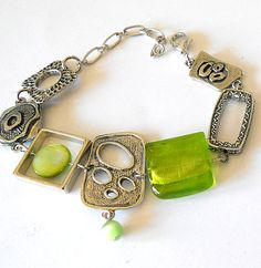 Lime green bracelet, Abstract green chunky modern bracelet,  spring fashion funky jewelry