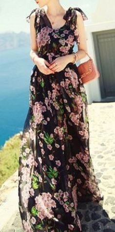 Gorgeous Spring Floral Maxi Dresses! Bohemian V Neck Sleeveless Black and Pink Floral Print Dress For Women #Black_and_Pink #Floral #Maxi #Dress #Fashion