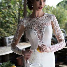 Берта свадебный 2015 красивая иллюзия длинным рукавом свадебное платье гипюр кружева лиф высокая шея закрыть