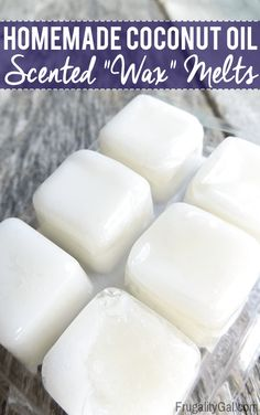 Frugal Experiment: Homemade Wax Melts alternative using just two ingredients that you likely have on hand – essential oil and coconut oil. try beeswax Diy Wax Melts, Scented Wax Melts, Homemade Coconut Oil, Coconut Oil Uses, Wax Burner, Homemade Candles, Natural Cleaning Products, Natural Products, Household Products