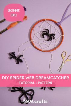 This spook-tacular tutorial is a real treat! A fab, simple Halloween decoration for the kids to make this year! | Downloadable PDF at LoveCrafts.com Easy Halloween Decorations, Halloween Crafts, Dream Catcher Tutorial, Cross Stitch Supplies, Craft Materials, Crochet Yarn, Cross Stitch Embroidery, Spider, Projects To Try