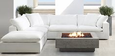 Restoration Hardward outdoor Cloud.  The ultimate in luxury outdoor living.   Love the fire pit too.