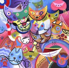 Kandinsky's Kats - David Newton; eccolo..uno dei miei Artisti d'arte preferito...con i miei adorabili Gattini :)