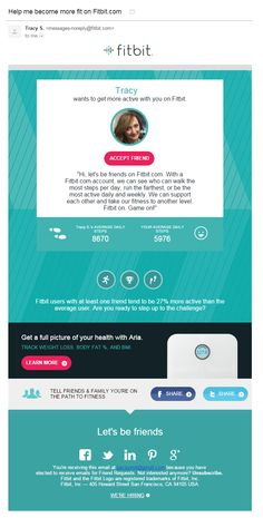 Fitbit email // Friend invite and encouragement. // Sent April 2015.