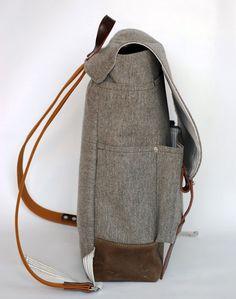 The Wayfarer Backpack in Heather Gray Wool van sketchbook op Etsy