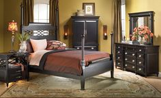 Detailed Dark Wood Bedroom Collection FROM HAYNES