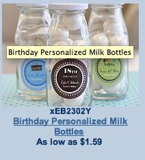 Personalized milk bottles - $1. Maybe put coffee beans, pecans, or candy?