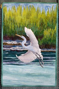 Quilt - 'Great White Egret, Rockport, Texas' by Sara Sharp. Won Honorable Mention for Art Quilt, Large and Small Category at the Austin Area Quilt Guild Quiltfest 2012 Bird Applique, Applique Quilts, Landscape Art Quilts, Landscape Wallpaper, White Egret, Thread Painting, Silk Painting, Bird Quilt, Animal Quilts
