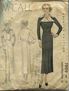 McCall 7909 | ca. 1934 Ladies' & Misses' Dress