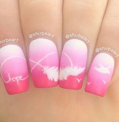 """Infinity Nail Art, """"hope"""", feather"""
