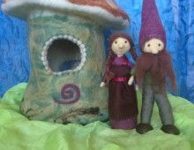 Needle Felted House ( green & purple)