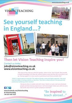 Ever thought about teaching in the UK? Perhaps your not 100% sure and would love more information about how this opportunity works. Get in touch to arrange a call jobs@visionteaching.co.uk and Vision Teaching will make it happen!