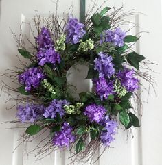 Lilacs and berries spring wreath Spring wreath for by Leopard