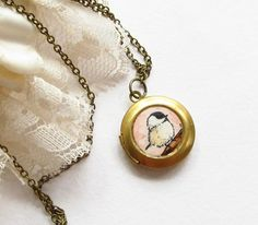 Chickadee -- Gold Toned Small Locket, Art Jewelry by SarahLambertCook. $ 25.00