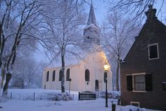 Little white church in Groet, Noord Holland, NL