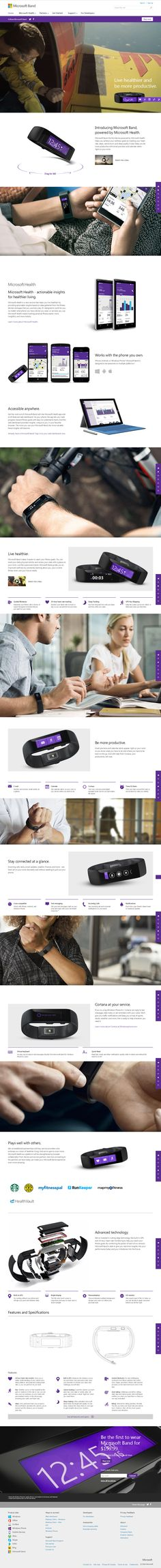Microsoft Band, the first device powered by Microsoft Health, helps you achieve your wellness goals by tracking your heart rate, steps, calorie burn, and sleep quality. Microsoft Band, Web Design, Sleep Quality, Heart Rate, Burn Calories, Wellness, Goals, Health, Design Web