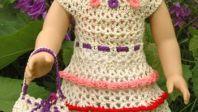 American Girl Doll Wildflower Dress with Ruffles Drawstring Handbag by ABC Knitting Patterns