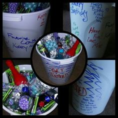 Get trashed birthday trash can filled with alcohol and candy Outside signed by family and friends
