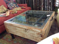 Old window and weathered wood turned coffee table via Black Dog Architectural Salvage! Diy Furniture Decor, Dog Furniture, Country Furniture, Recycled Furniture, Table Furniture, Furniture Making, Salvaged Wood, Weathered Wood, Barn Wood Projects