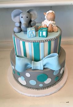 High Quality Sweet Blue And Grey Baby Shower Cake With Baby Lambs And Elephants! Perfect  For The