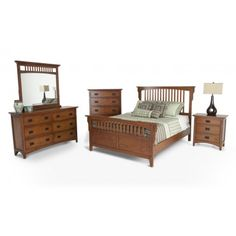 Mission Oak 8 Piece Queen Bedroom Set