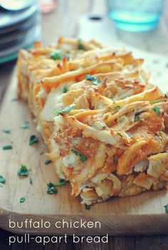 I'm totally trying this, sounds awesome! Buffalo Chicken Pull-Apart Bread