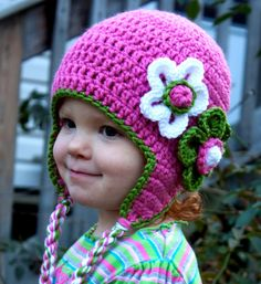 Hot Pink Flower Hat for Girls, Toddler Girl Hat, Adult Hat, Flower, Earflaps, Baby Photography Prop, Newborn Photo Prop. $34.00, via Etsy.