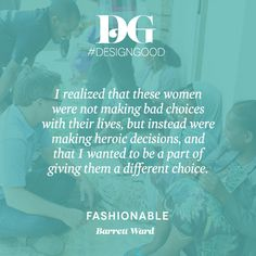 """...I wanted to be a part of giving them a different choice."" – Barrett Ward, founder of @livefashionable"