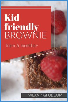 Here's a healthy version of brownie which uses no refined sugar and is suitable even for babies from 6 months and up, when introducing solids. You can use all kinds of beans (cannellini, black bean, kidney) and replace the date syrup with mashed fruit. Even picky eaters will enjoy the soft but not chewy texture and makes great finger food for lunchboxes too. Healthy Baby Food, Healthy Meals For Kids, Meals For One, Easy Healthy Recipes, Baby Food Recipes, Kids Meals, Baby Led Weaning First Foods, Baby First Foods, Baby Finger Foods