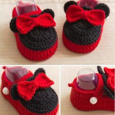 Mickey baby booties crochet