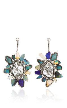 Diamond Slice, Opal And Diamond Lever Back Earrings In White Gold