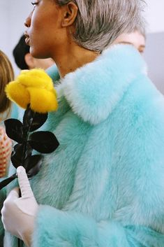 Light blue knee-length faux fur coat in A-line silhouette. Cute Winter Coats, Winter Coats Women, Coats For Women, Cold Day, Shrimp, Faux Fur, Fur Coat, Aqua, Instagram