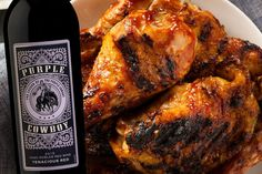 Chicken wings, because you can dig in with one hand, while keeping the other free for a glass of wine. 🍗🍷 Try our new favorite recipe for Grilled BBQ Chicken Wings with a glass of Purple Cowboy Tenacious Red. More summertime pairings: Bbq Chicken Wings, Grilled Bbq Chicken, Red Chicken, Barbecue Chicken, Tandoori Chicken, Vegetable Taco Recipe, Fruit Kebabs, Grilled Scallops, Grilled Halloumi