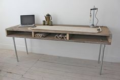 Reclaimed Scaffolding Board Industrial Chic Extra Long Desk with Built In Storage and Galvanised Steel Legs - works perfectly in a sophisticated Reclaimed Wood Desk, Reclaimed Furniture, Unique Furniture, Wood Furniture, Urban Furniture, Etsy Furniture, Reclaimed Lumber, Wooden Desk, Estilo Industrial Chic