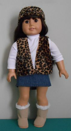 Jeans skirt, shirt, fun fur vest and headband for American Girl by SewQT, $18.00