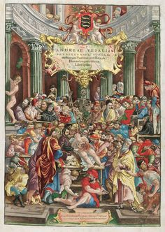Frontispício da edição original de 1543 do livro De Humani Corporis Fabrica, de Andreas Vesalius de Bruxelas.