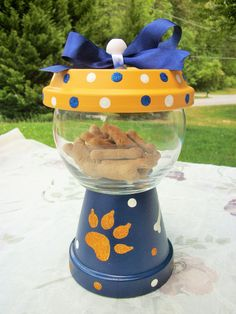 Blue Yellow Pet Treat Faux Gumball Jar by ElegantlyCentered on Etsy