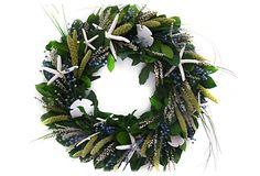 "20"" Seashell & Millet Wreath, Dried"