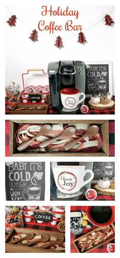 Holiday coffee bar with tutorial for DIY chocolate stir spoons - Coffee Ideas Christmas Hot Chocolate, Christmas Coffee, Christmas Kitchen, Christmas 2017, Christmas Time, Christmas Ideas, Xmas, Chocolate Spoons, Hot Chocolate Bars