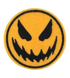 Evil Yellow Smiley Face Embroidered Patch Iron On Applique Punk Biker Halloween #Embroidered