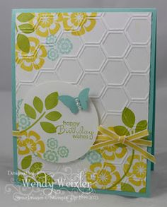 Betsys Blossoms, Petite Pairs Paper:  Pool Party, Whisper White Ink:  Pool Party, Daffodil Delight, Lucky Limeade
