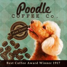 Poodle Coffee Co. - 12X12 Modern Vintage Giclee Print - Mixed Media - LHA-295-38. $38,95, via Etsy.