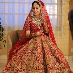 Red Bridal Lehenga By Sabyasachi Indian Bridal Outfits, Indian Bridal Lehenga, Indian Bridal Wear, Indian Dresses, Bridal Lenghas, Indian Wear, Wedding Lehnga, Red Wedding Dresses, Punjabi Wedding