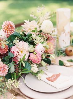 Colorful dahlia centerpiece: http://www.stylemepretty.com/2016/05/31/unique-nontraditional-engagement-ring/ | Photography: Kayla Barker Fine Art Photography - http://kaylabarker.com/