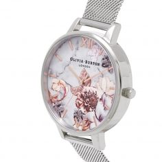 4ad304806f34e Ladies Marble Floral Rose Gold   Silver Mesh Watch