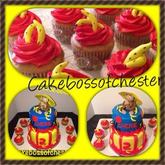 Curious George theme birthday cake with matching banana cupcakes! Made by the cakebossofchester@ jjsweettooth.com
